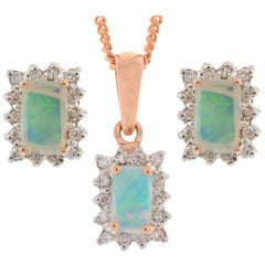 9 Carat Rose Gold 0.45 Carat Opal and Diamond Cluster Pendant and Earrings Set