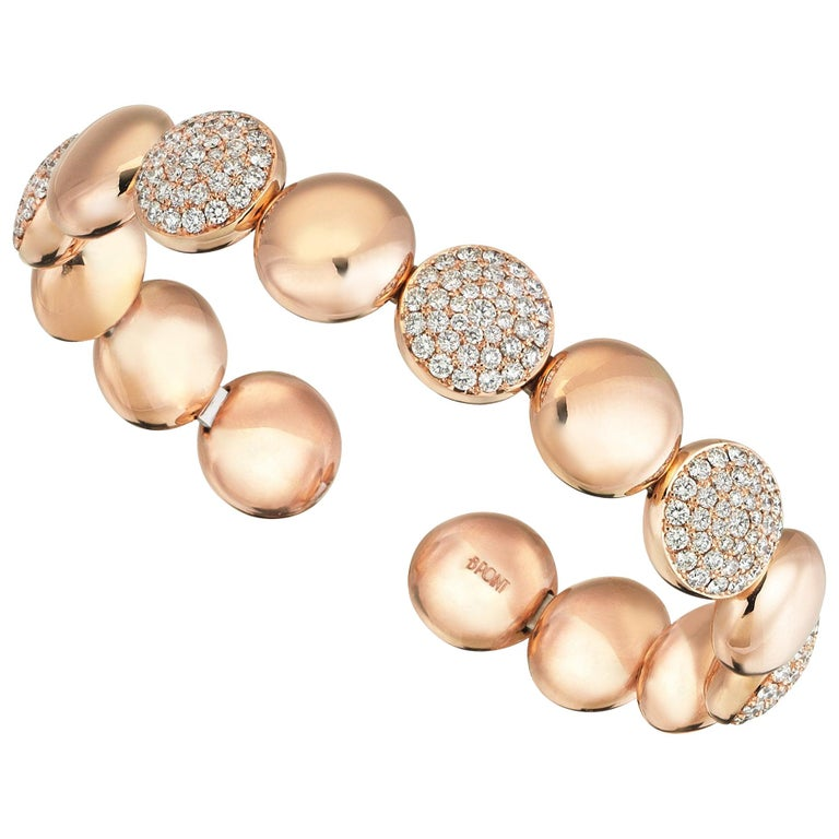 18 Karat Rose Gold 2.50 Carat Diamond Cuff Bracelet