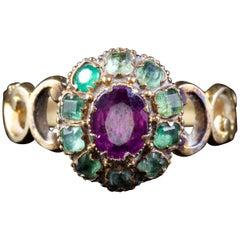 Antique Georgian Emerald Almandine Garnet Ring 18 Carat, circa 1800