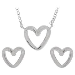 9 Carat White Gold Heart Pendant and Earrings Jewellery Set