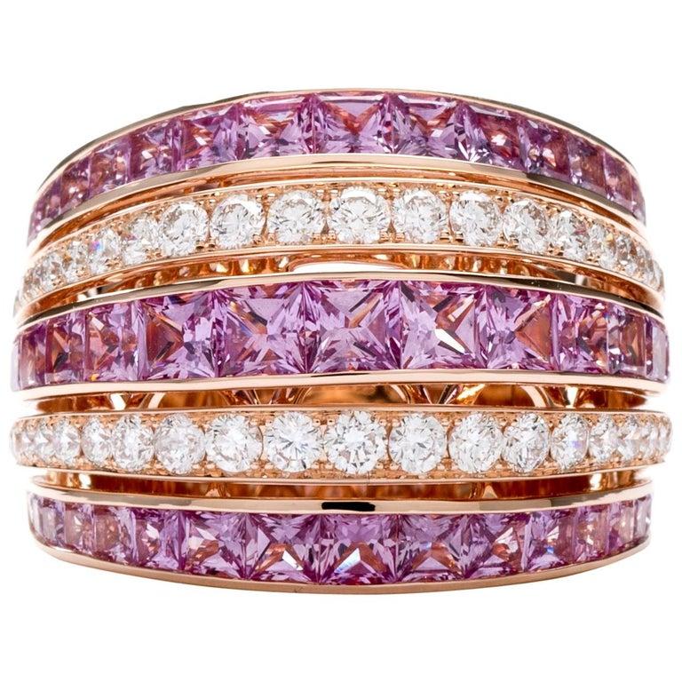 Pink Sapphire 18 Karat Rose Princess Ring