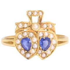 Antique Victorian Sapphire Pearl Double Heart Ring