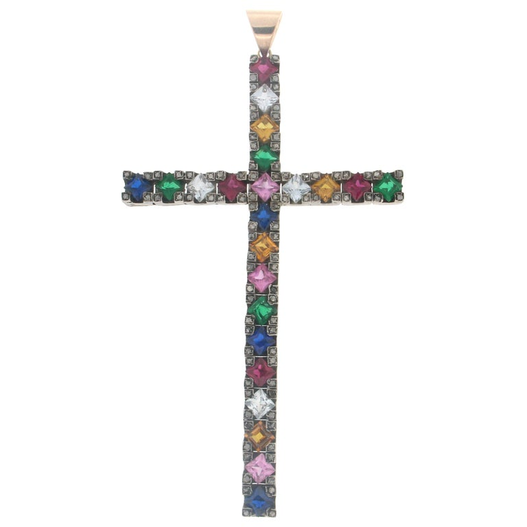 Quartz Cross 14 karat Yellow Gold and Diamonds Pendant Necklace