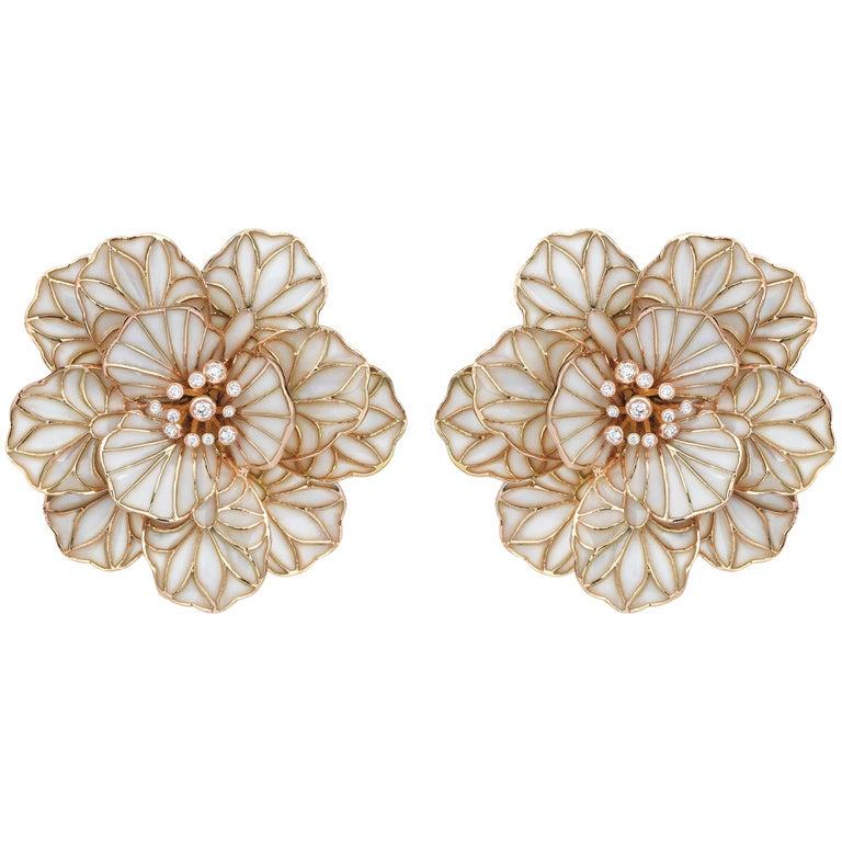 18 Karat Rose Gold 0.36 Carat Diamond and Enamel Earrings