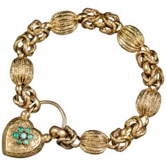 Antique Victorian Turquoise Heart Padlock Bracelet Pinchbeck, circa 1900