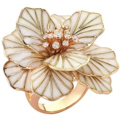 18 Karat Rose Gold 0.21 Carat Diamond and Enamel Flower Cocktail Ring