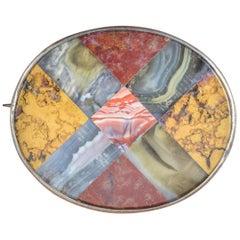 Antique Victorian Scottish Cross Brooch Agate Silver, circa 1860
