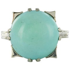 French 1970s Turquoise 18 Karat White Gold Ring