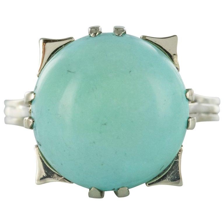 French 1970s Turquoise 18 Karat White Gold Ring