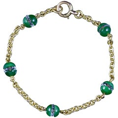 Antique Victorian Jade Crystal Bracelet 15 Carat Gold, circa 1880