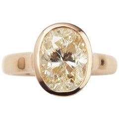 4.05 Carat Cushion Cut Yellow Diamond 18 Karat Pink Gold Cocktail Ring