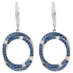 Circle Pave Sapphires and Diamonds 18 Karat White Gold Earrings