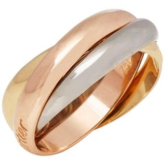 Cartier 18 Karat Yellow, White and Rose Gold Classic Trinity Ring