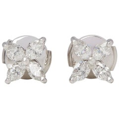 Tiffany & Co. Platinum Marquise Cut Diamond Medium Victoria Stud Earrings
