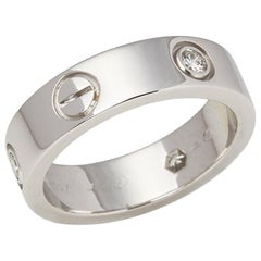 Cartier 18 Karat White Gold Three-Diamond Love Ring