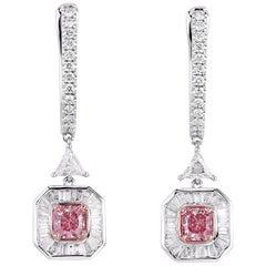 GIA Certified Fancy Pink Diamond Earrings, 1.89 Carat