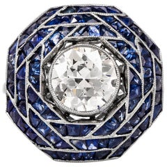 Art Deco European Diamond Sapphire Cocktail Ring