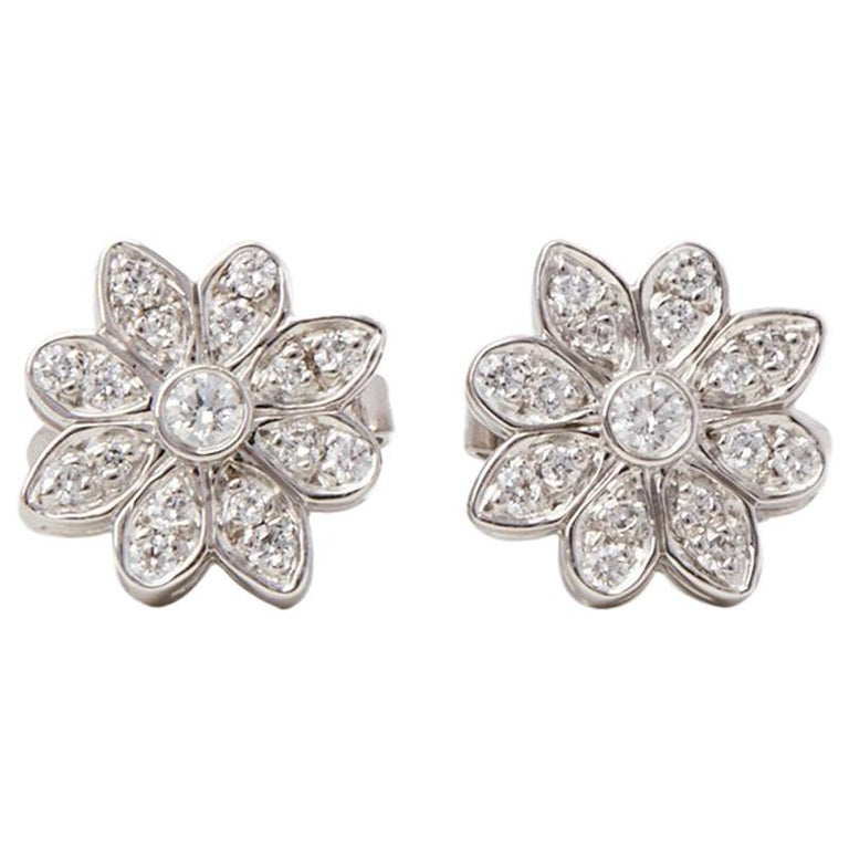 Tiffany & Co. Platinum Diamond Flower Enchant Stud Earrings