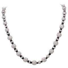 Pave Diamond Onyx Platinum Bead Necklace