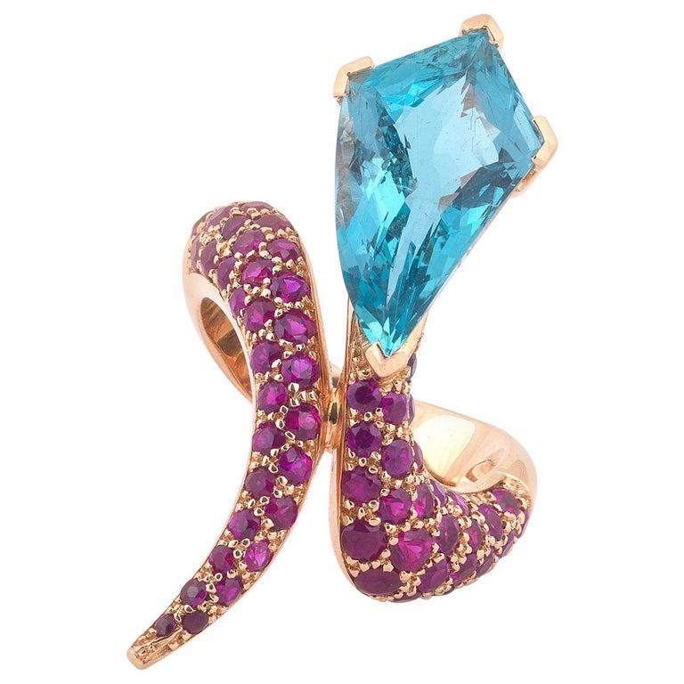 Aquamarine, Ruby and 18 Karat Gold Snake Ring