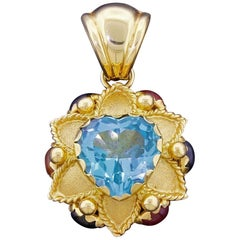 Emozioni of Italy 18 Karat Gold Blue Topaz Heart Pendant for Necklace Signed