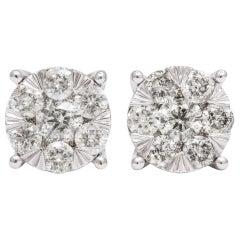 2.04 Carat of Diamonds Cluster Stud Setting Pair of Earrings