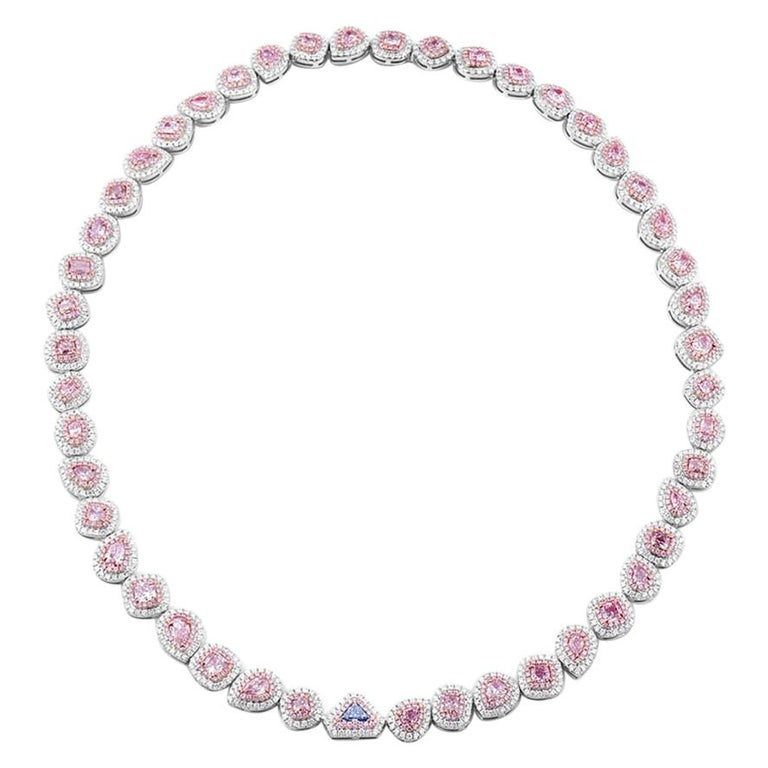 GIA Certified Fancy Pink and Blue Diamond Necklace, 18.84 Carat