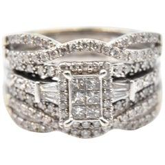 1.01 Carat Diamond 14 Karat White Gold Three-Piece Engagement Ring