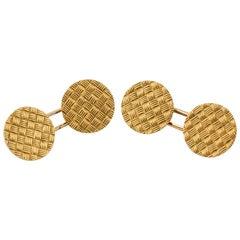 French 18 Karat Gold Basket Weave Round Cufflinks