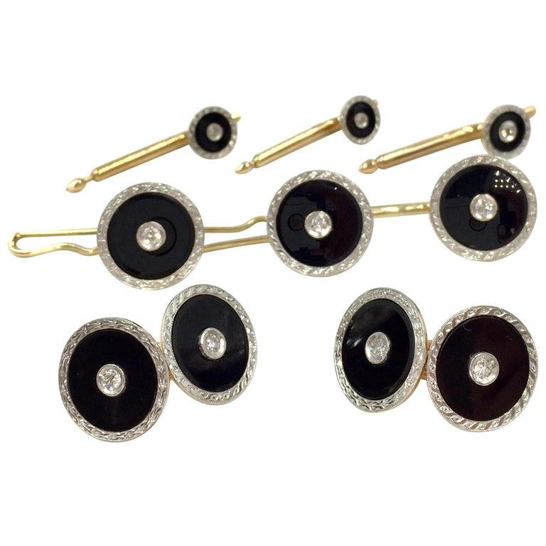 Vintage Round Cuff Link and Shirt Stud Set Diamond, Onyx 14 Karat and Platinum