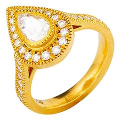 24 Karat Gold Handcrafted Tear Drop Form Rose Cut Diamond Solitaire Ring