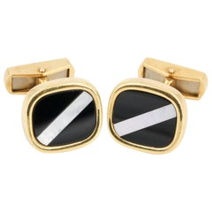 Inlaid Mother-of-pearl, Onyx and 18 Karat Gold Cufflinks