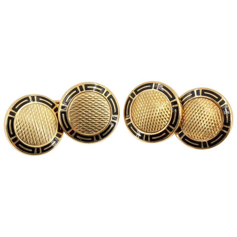 Bulgari Black Enamel and 18 Karat Gold Cufflinks