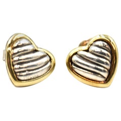 David Yurman Sterling Silver and 18 Karat Yellow Gold Heart Cable Stud Earrings