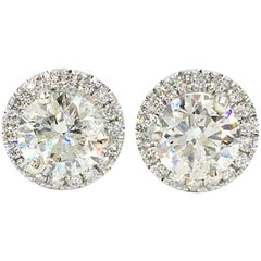 Certified 2.48 Carat Diamonds in Diamond Halos Stud Earrings