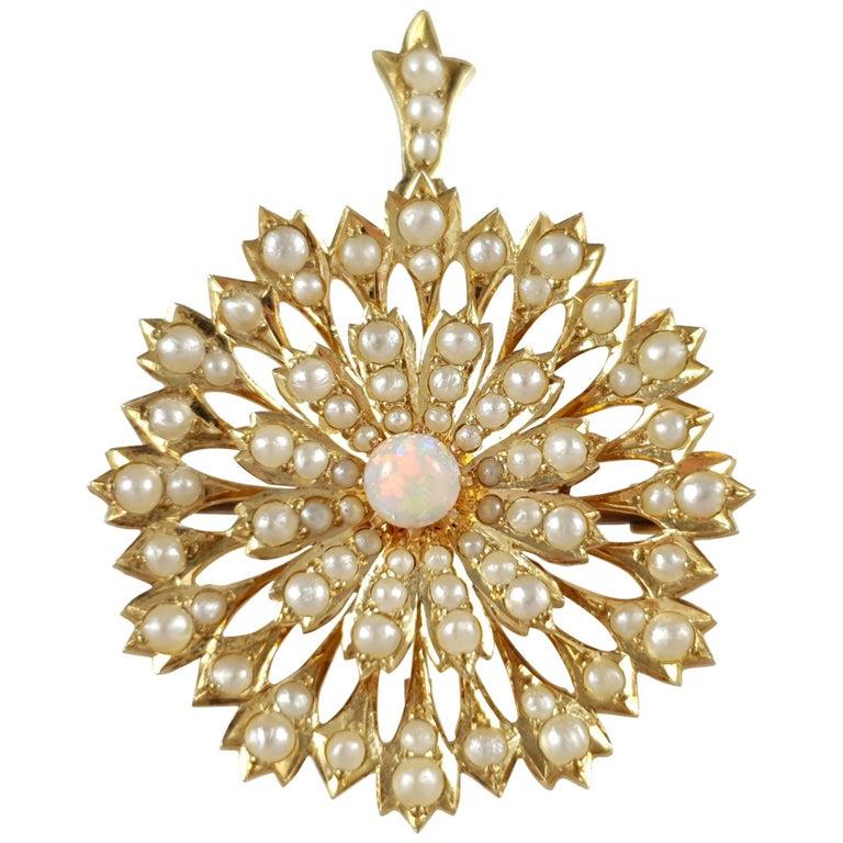 Edwardian 15 Karat Yellow Gold Opal Cabochon Seed Pearl Pendant and Brooch
