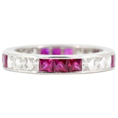 French Cut Ruby, Diamond and Platinum Band