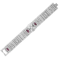 Art Deco Diamond and Ruby Bracelet