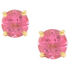 Solid 14 Karat Yellow Gold Pink Tourmaline Stud Earrings, Excellent Condition