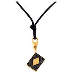 Black Diamond 18 Karat Gold Four Card Charm/Pendant Necklace Set by Crivelli