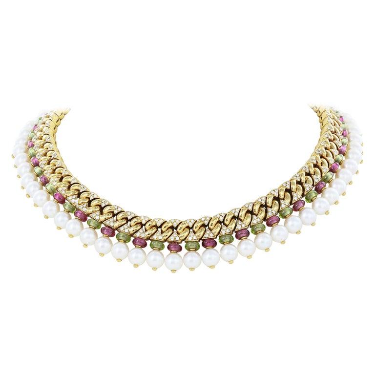 Bulgari Colar Necklace Tourmaline, Peridot, Diamonds and Pearls