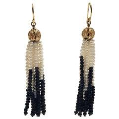 White Pearl and Onyx Tassel Earrings, 14 Karat Gold Filigree Bead and Hook
