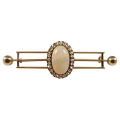 Victorian 14 Karat Yellow Gold Opal and Diamond Cluster Bar Brooch