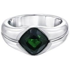 Green Chrome Tourmaline Platinum Unisex Band Ring