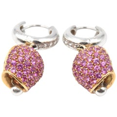 """Pink Sapphires and Diamond 18 Karat Two-Tone Gold """"Bell"""" Earrings"""