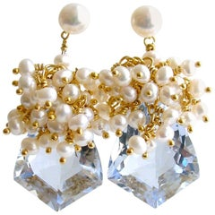 Shield Cut Sky Blue Topaz Seed Pearl Cluster Earrings, Diana V Earrings