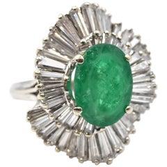 2.00 Carat Emerald and Diamond 18 Karat White Gold Ring