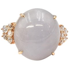 18 Karat Yellow Gold Purple Jade and Diamond Ring