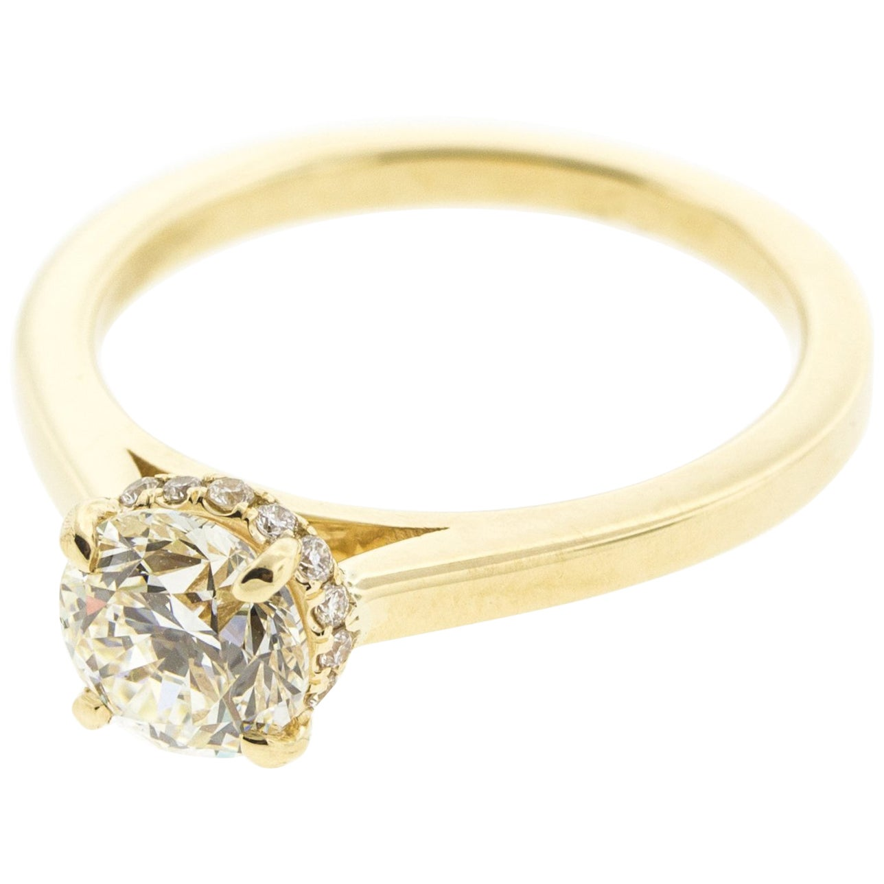 Hidden Halo Diamond Engagement Ring in Yellow Gold 'Certified'