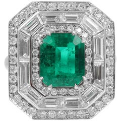 Handmade Natural Colombian Green Emerald Halo Diamond Ring Platinum